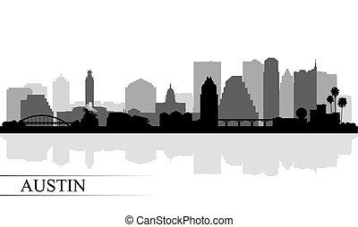 skyline città, silhouette, austin, fondo