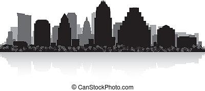 skyline città, silhouette, austin