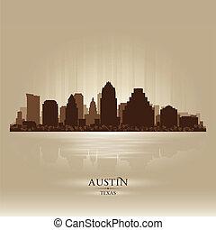 skyline città, silhouette, austin, texas