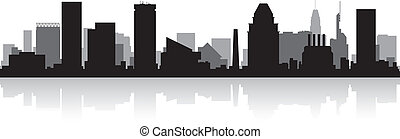 skyline città, silhouette, baltimora