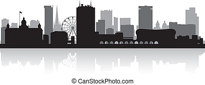 skyline città, silhouette, birmingham