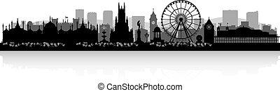 skyline città, silhouette, brighton