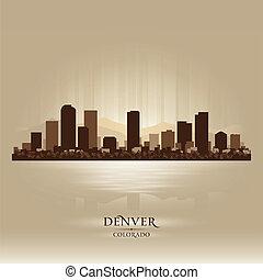 skyline città, silhouette, colorado, denver