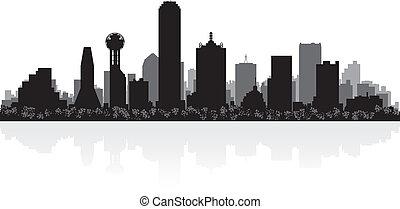 skyline città, silhouette, dallas