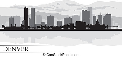 skyline città, silhouette, denver, fondo
