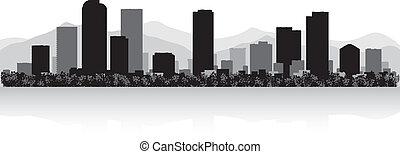 skyline città, silhouette, denver