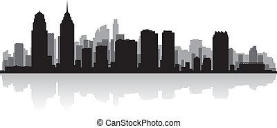skyline città, silhouette, filadelfia