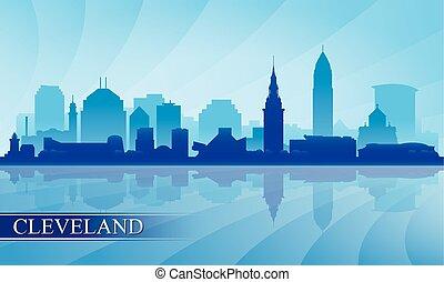 skyline città, silhouette, fondo, cleveland