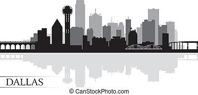 skyline città, silhouette, fondo, dallas
