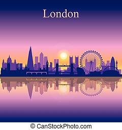 skyline città, silhouette, fondo, londra