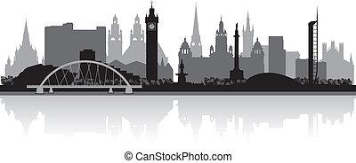 skyline città, silhouette, glasgow