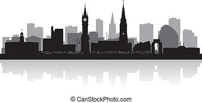 skyline città, silhouette, leicester