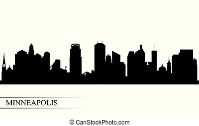skyline città, silhouette, minneapolis, fondo