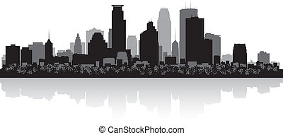 skyline città, silhouette, minneapolis