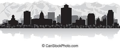 skyline città, silhouette, salare lago