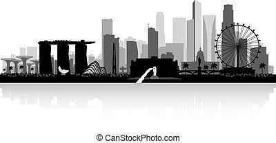 skyline città, silhouette, singapore