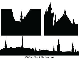 skyline città, silhouette