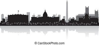 skyline città, silhouette, washington