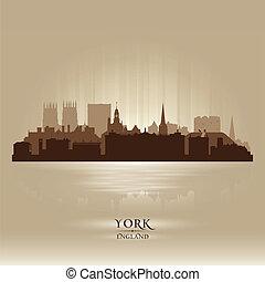 skyline città, silhouette, york, inghilterra
