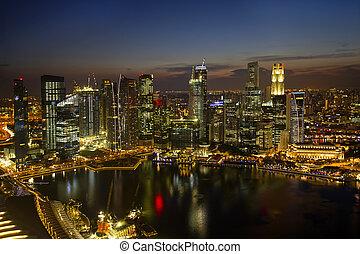 skyline città, singapore, crepuscolo