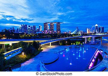 skyline città, singapore, notte