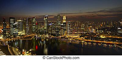 skyline città, singapore, panorama, crepuscolo