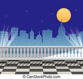 skyline città, terrazzo, vista
