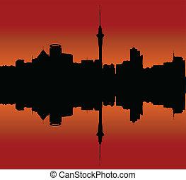 skyline città, tramonto, auckland