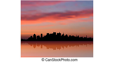 skyline città, tramonto, york, fondo, internet, nuovo