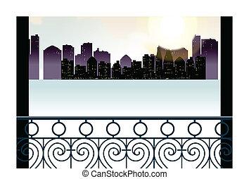 skyline città, trascura, balcone