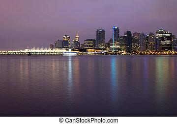 skyline città, vancouver, alba, bc