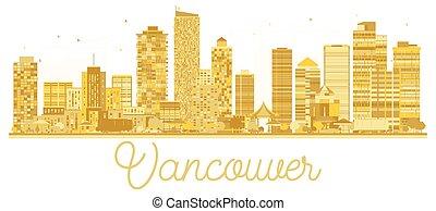 skyline città, vancouver, dorato, silhouette.