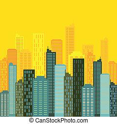 skyline città, vettore, costruzioni