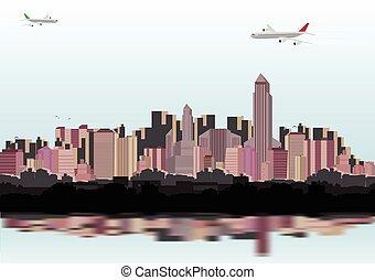 skyline città, vettore, -, illustrazione