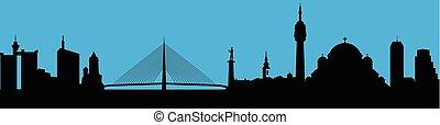 skyline città, vettore, silhouette