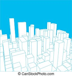 Skyline City. Abstract town. Industrial landscape Vector illustration