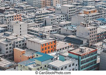 skyline city, aerial udsigt