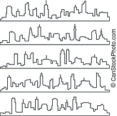Skyline city. Building line of town. Outline urban vector cityscape set isolated