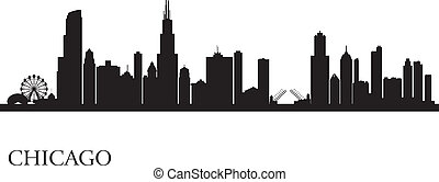 skyline city, silhuet, baggrund, chicago