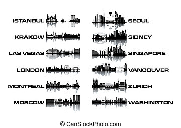 Skyline collection - black and white vector illustration