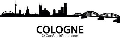 detailed vector silhouette of Cologne, Germany