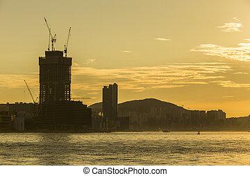 skyline., construction, silhouette, asiatique, levers de soleil