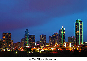 skyline, crepúsculo, dallas