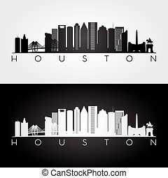 skyline de houston, silhouette