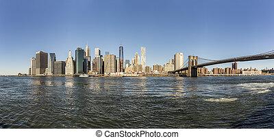 skyline de manhattan, visto, da, brooklyn, lato