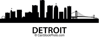 detailed silhouette of Detroit, Michigan