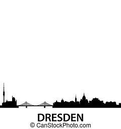 Skyline Dresden - detailed vector silhouette of Dresden,...