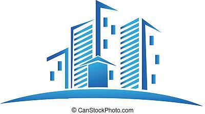 skyline, edifícios, bens imóveis, logotipo