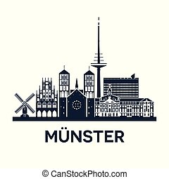 Skyline emblem of Munster, city in North Rhine-Westphalia, Germany