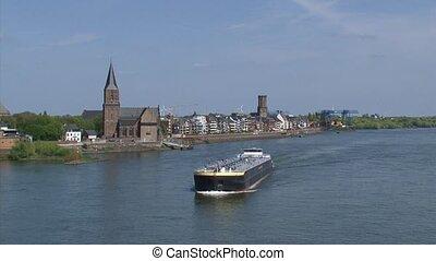 Skyline Emmerich, Germany + ship tanker sails downstream -...